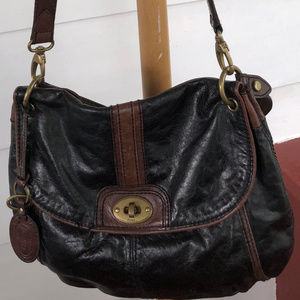 Fossil Two Tone Flap Crossbody Bag